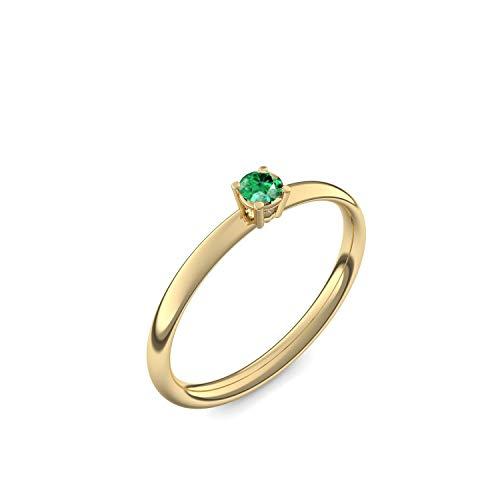750 Goldring Smaragd (sehr hochwertig!) + inkl. Luxusetui + - Goldringe Smaragd Ringe (Gelbgold 750) - Concinnity Amoonic Größe 58 (18.5) AM161 GG750SMFA58
