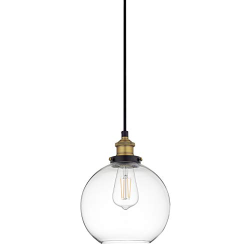 Primo Large Glass Globe Pendant Light Fixture - Black and Gold Hanging Pendant Lighting for Kitchen Island - Mid Century Modern Ceiling Light with Clear Glass Shade