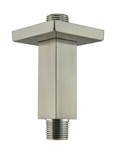 Aquaiaw Shower Arm and Flange, 3 inch, Solid Brass, Square, PVD Brushed Nickel, Both 1/2 NPT Shower Extension, Straight Shower Arm Extension, Ceiling Shower Head Extension Arm, Rain Shower Head Arm