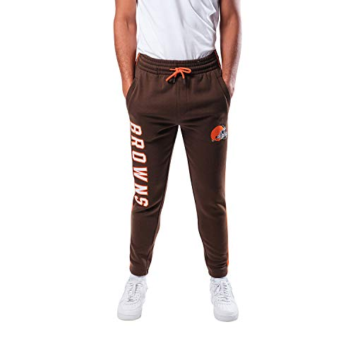 Ultra Game NFL Cleveland Browns Mens Active Basic Jogger Fleece Pants, Team Color 18, X-Large