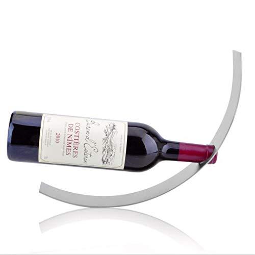 Yuzhijie Botellero de acero con media luna | simple y de moda | acero inoxidable | botellero | hogar | vino tinto | adornos