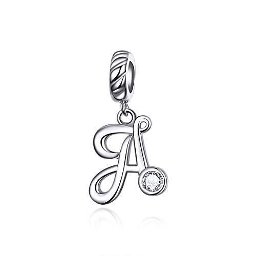 LaMenars - Ciondolo a forma di lettera dell'alfabeto, in argento Sterling 925, compatibile con braccialetti e collane europei e Argento, colore: Lettera A, cod. SCC1183