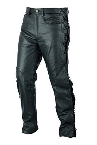 Texpeed - Herren Motorradhose im Stile einer Lederhose - mit geschnürten Seiten - schwarz - Größe W40 / 101,5cm