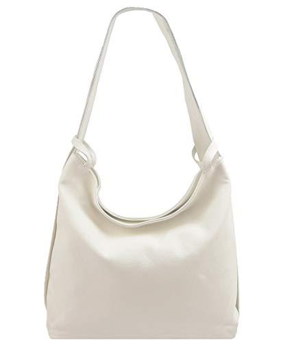 2in1 Damen Handtasche Rucksack Designer Luxus Henkeltasche aus 100% Echtleder (Creme)