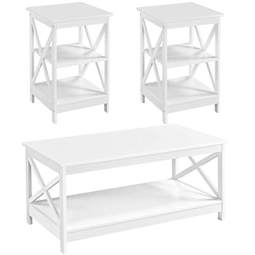YAHEETECH 3 Piece White Wood Table Sets, X-Design Coffee Tble with Shelf & 2 x 3 Tier X Frame End Side Table Storage Cabinet for Living Room, Minimalist Style, Accent Furniture