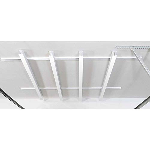 SAM 84 x 78-Inch Multi-Channel Adjustable Tote Slide Overhead Garage Storage Rack with Hardware, Powder-Coated White