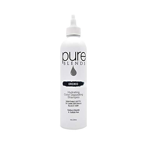 Pure Blends Orchid Moisturizing Color Depositing Conditioner - Eliminates Color Fade - Brightens & Tones Dark Brown to Black Hair - Sulfate & Sodium Chloride Free - 8.5 Oz