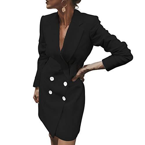 Vertvie Dames blazer elegante mantel met knoopsluiting Military Coat lang slim fit vrije tijd staande kraag kantoor pak jassen trenchcoat vrijetijdspak