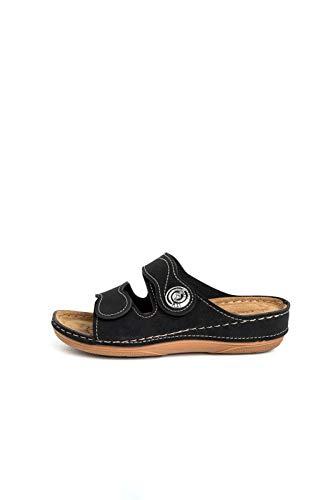 Gezer Damen Pantolette/Sandale/Slipper/Gr. 36-42 / Blau/Schwarz/Neu, Schuhgröße:37, Farbe:Schwarz thumbnail
