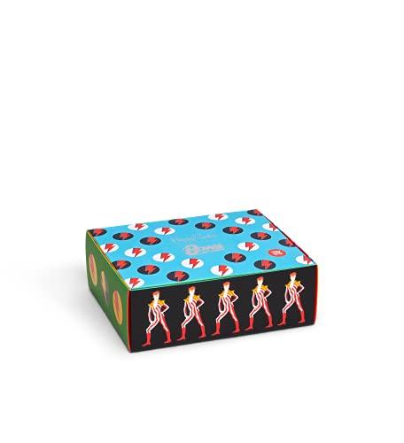 Happy Socks Bowie Gift Set 3-Pack farbenfrohe & verspielte Geschenkboxen für Männer & Frauen, Premium-Baumwollsocken, 3-Paare,Größe 41-46