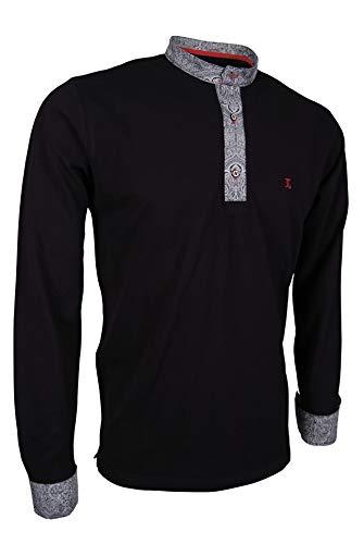 Giorgio Capone Premium-Langarm-Poloshirt, einzigartiger Stehkragen & Manschetten, Pique-Stoff 100% Baumwolle, Schwarz (XL)