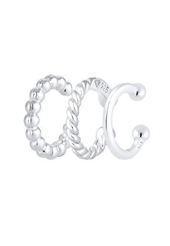 Elli Ohrringe Damen Earcuff Set Geo Minimal Look in 925 Sterling Silber