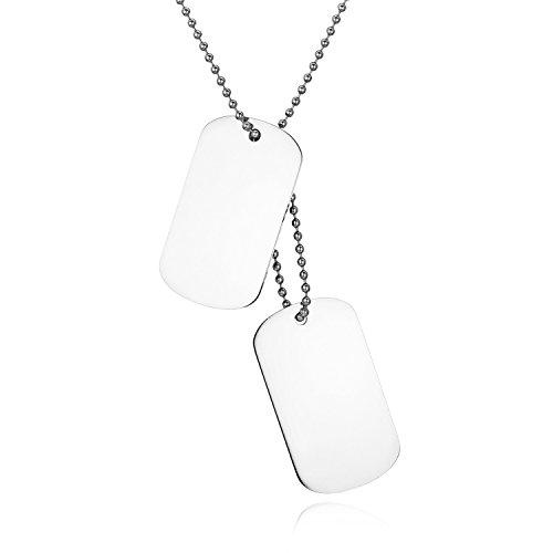 JewelryWe Colgante Collar Personalizado Dog Tag Militar Doble, Hombre Mujer Personalizadas Placas Estilo Ejército para Grabar, Acero Inoxidable Plateado Pulido, Regalo Navidad