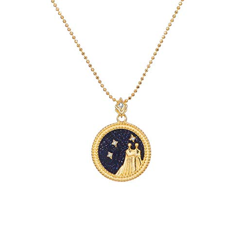 DRTWE Zodiac Necklace, 12 Types Elegant Star Zodiac Sign 12 Constellations Necklaces Horoscope Pendants With Chain Charming Blue Color Choker Pendant Necklaces For Women Gift,Gemini