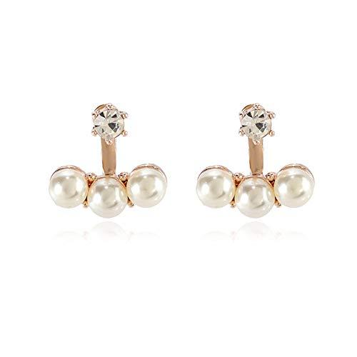 Pendientes de tuerca de perlas de moda con tres pendientes de perlas para las mujeres se adapta a las orejas sensibles, joyería cotidiana-B