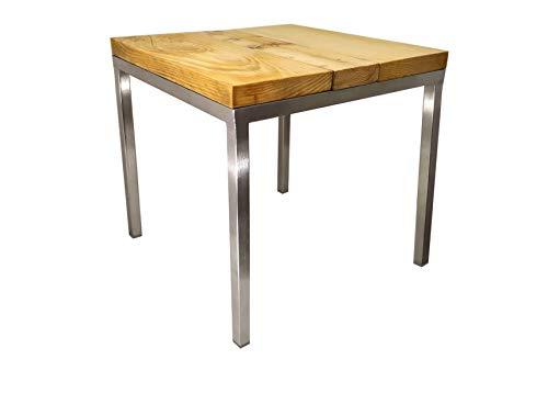 Namor© Edelstahl Hocker | Holzhocker | Beistelltisch | Blumentisch | Sitzhocker | Bettbeistelltisch mit Bodenschonern | Handmade in Germany