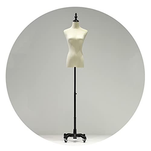 HAIPENG Maniquí Costura Busto Hembra, Forma del Vestido Bustos con Rueda Universal, Ajustable Modelo Ficticio por Ventana Mostrar Diseño Ropa, 2 Colores (Color : Black, Size : Small)