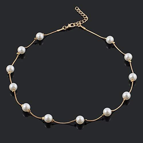 Corneliaa Popular Hermoso simulado 12 Perlas Perlas Exquisito Buen Regalo Collar Moda Gargantilla Collares para Mujeres