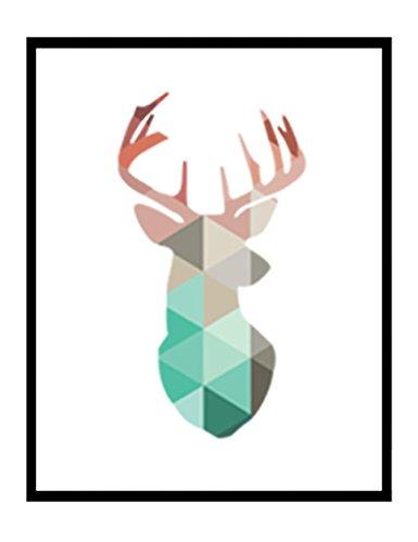 Géométrique corail Animaux Toile Art Impressions Affiches Cerf Tête Girafe Ours Flamant Modèle Abstrait Giclées Impression de photos murales Décoration d'intérieur pas de cadre PTGM001-XL