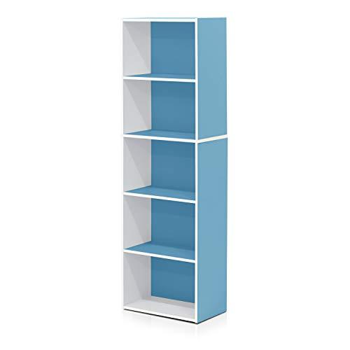 Mejor FURINNO JAYA Simple Home 3-Tier Adjustable Shelf Bookcase, Light Blue crítica 2020
