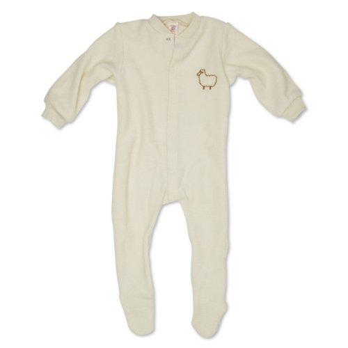 Engel Einteiliger Schlafanzug mit Fuß, 100% Merinowolle, Natur, Gr. 74/80, Farbe Natur