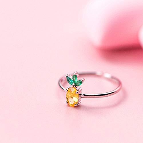 PRAK Damen 925 Sterling Silber Ringe,Punk Lebensmittel Obst Ananas Ring Für Frauen Geburtstag Charme Modeschmuck Personalisieren