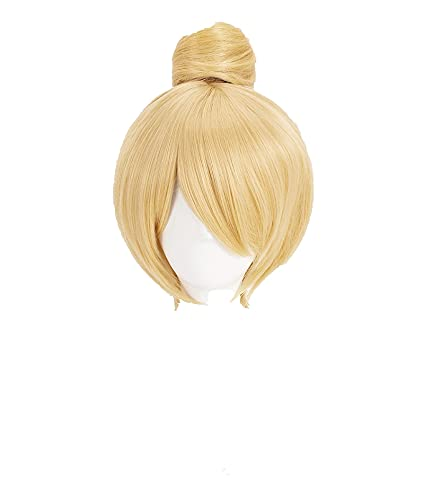 Princess Tinker Bell Tinkerbell Cosplay Wigs Short Blonde Hair With Bun Heat Resistant Synthetic Hair Wig + Wig Cap