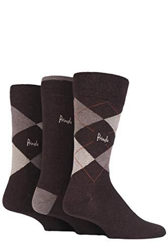 Pringle Herren 3 Paar New Waverley Argyle gemusterte & einfarbige Socken - Browns 41/46