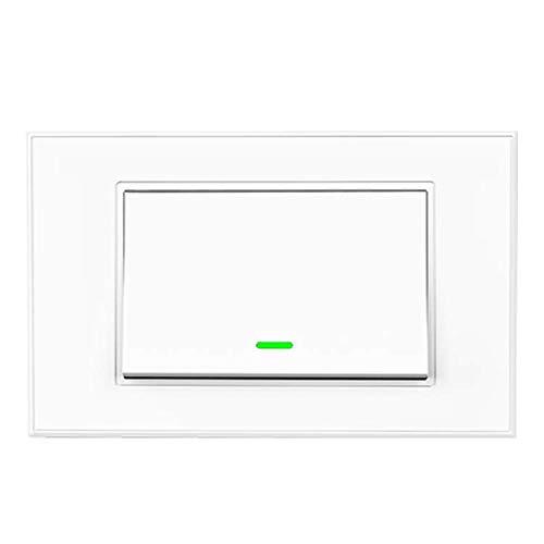 Smart Wall Switch WiFi Smart Switch Interruptor de luz inteligente, pantalla táctil, temporizador, mando a distancia APP, compatible con SmartThings, Amazon Alexa, Google Home e IFTTT (1 Gang)