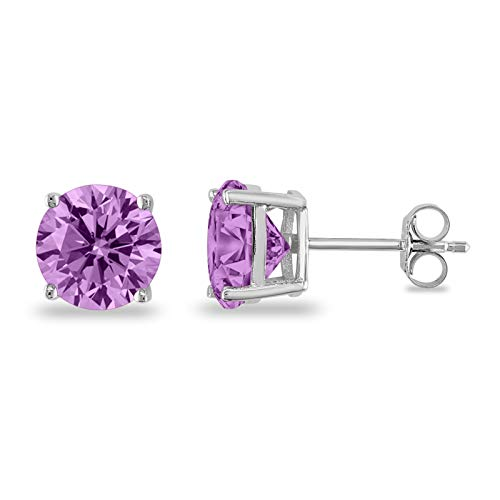 Butterfly Back 4 Prong Stud Earrings Round Casting Simulated Lavender Cubic Zirconia 925 Sterling Silver Size-4mm