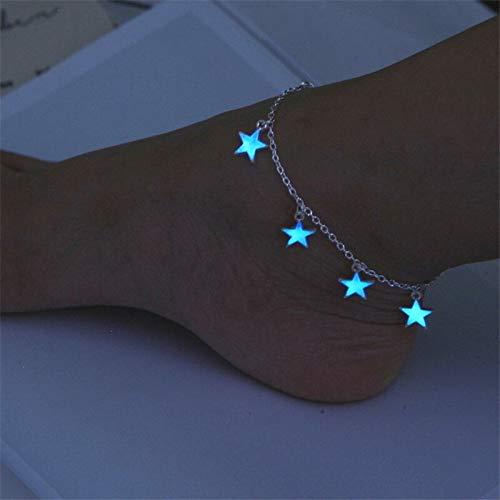 ZBXCVZH Viento Europeo y Americano Viento Azul pentagonal Tassel Tobillo Cadena Luminosa Estrella Pulsera Tobillo Pulsera Ornamento