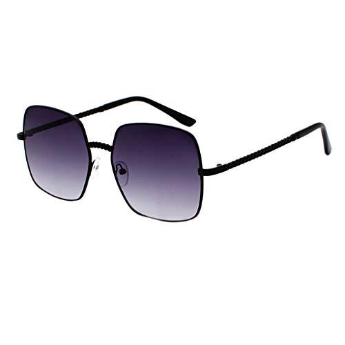 Lazzboy Polarisierte Sonnenbrille Für Frauen Mann Verspiegelte Linse Mode Brille Brillen Gradient Lens Quadrat übergroße Weibliche(Lila)