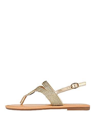 Marypaz, Flache Sandalen, modisch, Sommer, metallisch, für Damen, goldfarben, Gold - gold - Größe: 36 EU