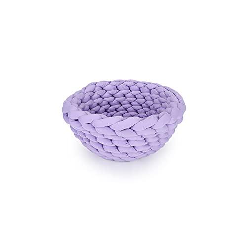 Xucage Cama para mascotas tejida a mano de algodón lavable a máquina personalizada para gatos Perrera, púrpura, L