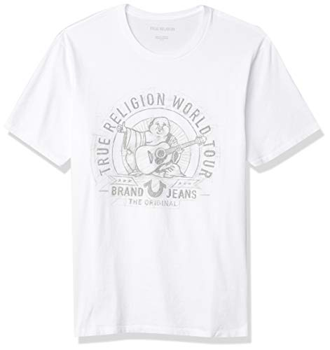 True Religion Men's Scribble Buddha Short Sleeve Crewneck Tee, White, Large