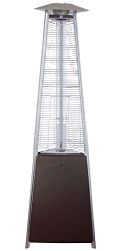 "AZ Patio Heaters NG-GT-BRZ 94"" Tall Natural Gas Glass Tube Outdoor Patio Heater, Hammered Bronze Finish"