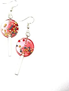 Earrings for women -circle shaped lollipop with Brass Earring Hooks