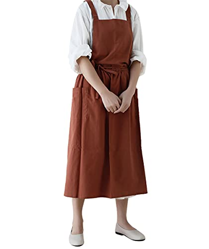 Jeelow Cotton Cooking Kitchen Garden Bib Cross Back Apron Dress For Women With Pockets Waterdrop Resistant (Caramel)