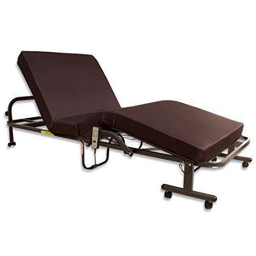 タンスのゲン 折りたたみベッド 電動 シングル リクライニングベッド 手すり付き レマン リモコン付き 1061900100