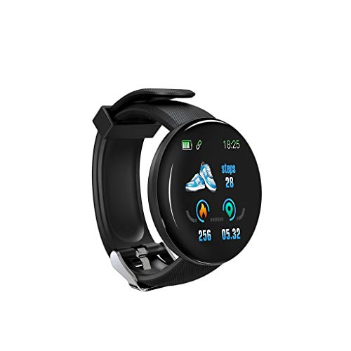 Smartwatch, D18 Bt4.0 IP65 Wasserdicht Armbanduhr Mit Farbbildschirm, Anruf- Und Nachrichtenbenachrichtigung, Herzfrequenz, Blutdruck, Blutsauerstoffüberwachung, Schlafüberwachungsfunktion (Schwarz)