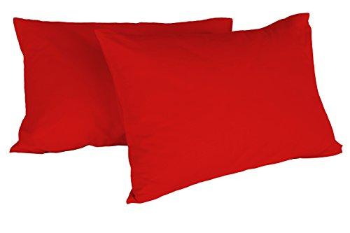 Italian Bed Linen Max Color Coppia di Federe Tinta Unita, 100% Cotone, Rosso, 52 x 82 cm