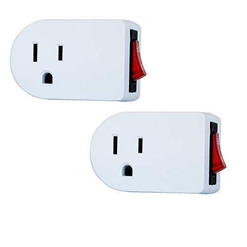 2-Pack Luxtronic White Grounded On/Off Power Switch with Red Light ETL (2)