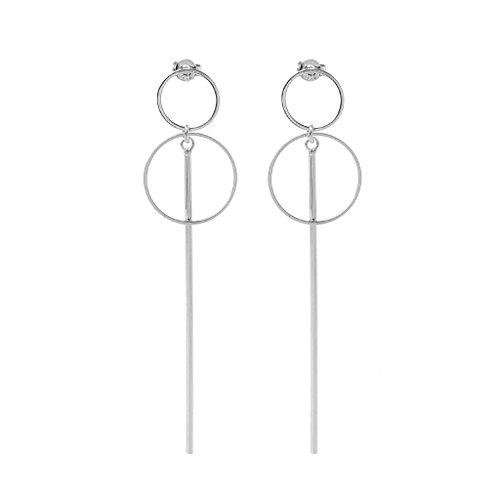 QIANGU Pendientes de oreja, coreano doble círculo colgante aretes geométricos pendientes de gota de la joyería femenina
