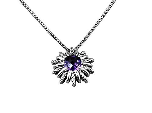 David Yurman Starburst Sterling Silver 18 mm Station Amethyst Necklace New 18""