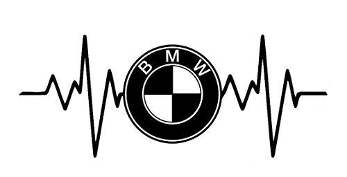 SUPERSTICKI Herzschlag Heartbeat kompatibel für BMW Logo 20cm Aufkleber,Autoaufkleber,Sticker,Decal,Wandtattoo, aus Hochleistungsfolie,UV&waschanlagenfest,