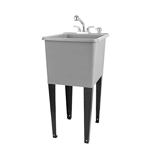 Space Saver Utility Sink by JS Jackson Supplies, Pull-Out Faucet, Soap Dispenser, Grey Tub (Chrome)