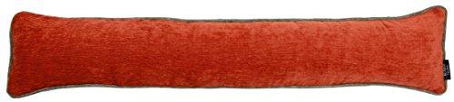 McAlister Textiles Alston Chenille | Schlichter zweifarbiger Zugluftstopper mit Füllung in Orange mit Grau | Deko Windstopper für Fenster, Türen