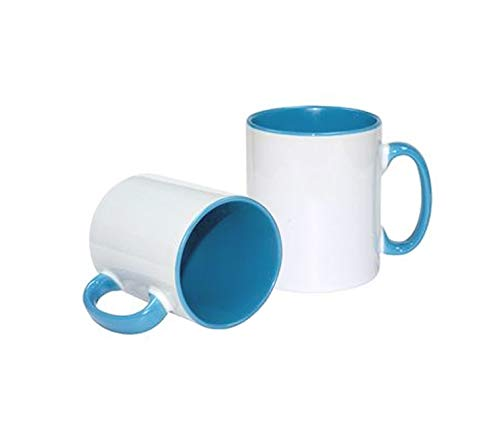 Tazas de cerámica con Interior y asa de Color (Ideales para ser Impresas Mediante la sublimación (Color Azul Celeste