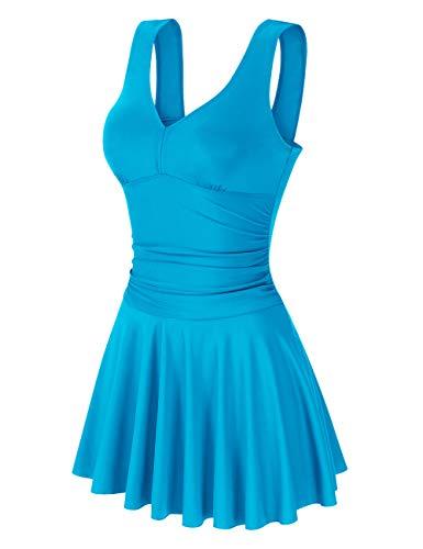 Clearlove Damen Sexy Uni Badeanzug Bandeau Figurformender Größe,Hellblau,S