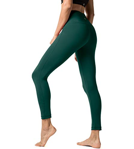 LAPASA Damen Leggings Yoga Sport Pants Lang High Waist, MEHRWEG L01 (Dunklegrün, M)